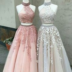 Prom Dress High Neck Appliques Two Piece Sleeveless Ball Gown Tulle Lace Sexy Open Back Long Pink Junior Prom Party Dresses - My Sweet Dress Prom Dresses Two Piece, Cute Prom Dresses, Homecoming Dresses, Pretty Dresses, 15 Dresses, Formal Dresses, 1940s Dresses, Prom Gowns, Dress Prom