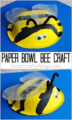 This paper bowl bee craft for kids is simple to make and is perfect for a summer kids craft or when learning all about bees.
