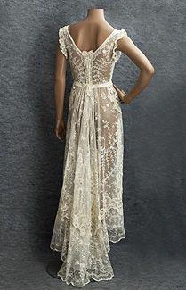 Mixed Lace Wedding Dress, c.1910