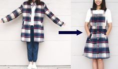 Refashion a coat to overall dress, create a quality pinafore or overall dress from an old coat. Plaid Coat, Plaid Dress, Diy Dress, Dress Outfits, Dresses, Sewing Clothes, Diy Clothes, Thrift Clothes, Jean Overall Dress