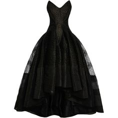 Zac Posen Asymmetric Embroidered Organza Dress ($5,695) ❤ liked on Polyvore featuring dresses, gowns, long dresses, zac posen, vestidos, jet black, draped gowns, embroidered dress, short in front long in back dress and organza gown