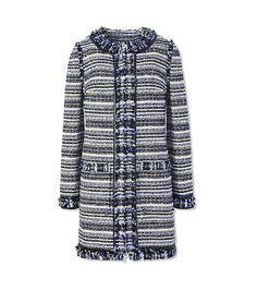 Visit Tory Burch to shop for Laila Coat and more Womens View All. Find designer shoes, handbags, clothing & more of this season's latest styles from designer Tory Burch. Chanel, Tweed Coat, Going Out, Tory Burch, My Style, Long Sleeve, Womens Fashion, Sleeves, Cotton