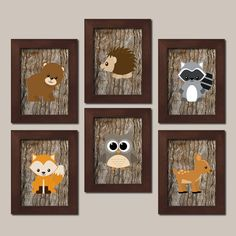 WOODLAND Nursery Art Animals Rustic Country by LovelyFaceDesigns