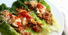 Lettuce tacos from bariatriceating.com with ground turkey, ff sour cream, shredded low fat cheese & salsa. ##LM 04-2016