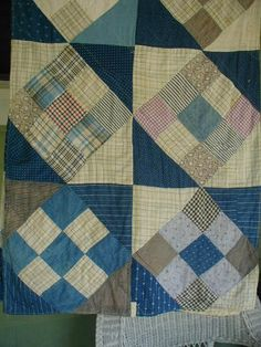 Antique Quilt Table Runner Pieced with Indigo by ChickenLittleToo,