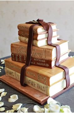 Book cake - could have romantic titles for wedding