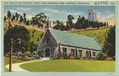 GLENDALE:  Wee Kirk of the Heathers, Forest Lawn Memorial Park, Glendale, California Date issued: 1930 - 1945 (approximate) Physical description: 1 print (postcard) : linen texture, color ; 3 1/2 x 5 1/2 in. Genre: Postcards  Subject: Churches Notes: Title from item. Collection: The Tichnor Brothers Collection Location: Boston Public Library, Print Department Rights: No known restrictions