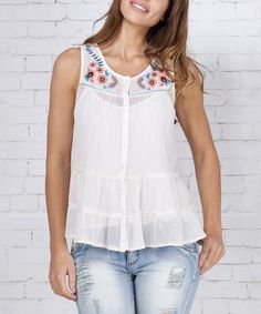 White Floral Embroidered Swing Top #zulilyfinds