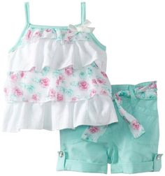 Amazon.com: Little Lass Baby-Girls Newborn 2 Piece Short Set With Layers: Clothing