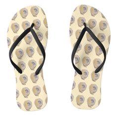 747443aa205094 Oyster beach flip flops for women. Adorable cute beach flip flops. Flipflops