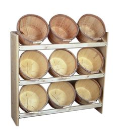 Wooden Basket Display Shelf.  http://www.farmersmarketonline.com/marketsupply.htm