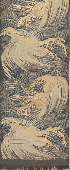 Obi with Waves Period: Meiji period Culture: Japan Medium: Silk and metallic thread double cloth (fûtsû by rachelpp Japanese Textiles, Japanese Patterns, Japanese Prints, Japanese Design, Japanese Waves, Doodle Drawing, Art Chinois, Stoff Design, Art Asiatique