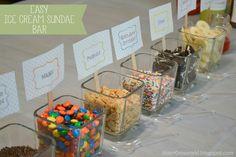 Easy Ice Cream Sundae Bar.   FREE Printables
