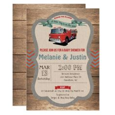 Retro Firetruck Wood Baby Shower Invitation - baby gifts child new born gift idea diy cyo special unique design Baby Shower Cakes Neutral, Boy Baby Shower Themes, Baby Shower Invitations For Boys, Baby Shower Fun, Baby Shower Parties, Baby Shower Decorations, Baby Shower Gifts, Fun Baby, Firefighter Baby Showers