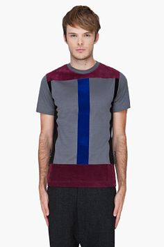 Christopher Kane Grey Flock Panel T-shirt for Men | SSENSE