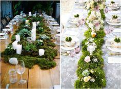 Woodsy and White Wedding Tablescape Ideas Wedding Table Garland, Snow White Wedding, Enchanted Forest Wedding, Lake Tahoe Weddings, Wedding Designs, Wedding Ideas, Event Design, Dream Wedding, Green Centerpieces