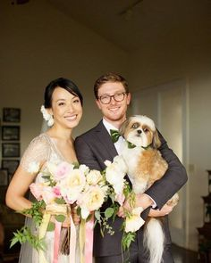 How adorable is this puppy groomsman?! Bridal bouquet by Petals - wedding by Bliss - photo by Anna Kim Photography
