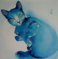 """Carte postale. Carte de voeux .Reproduction aquarelle chat """" bleu russe """", chartreux"""