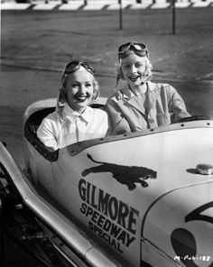 Betty Grable and Lucille Ball at the Gilmore Stadium midget car raceway in Los Angeles - c. 1930s