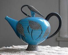 Blue Teapot - with Herons Elizabeth Maurland #collectibles #collections #ceramics #teapots #design #art #handmade #porcelain