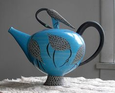 Blue Teapot - with Herons  Elizabeth Maurland, Ceramic, 1998