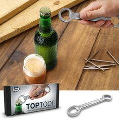 You know the old saying, use the right tool for the right job. This Top Tool Bottle Opener is the perfect manly tool for opening your beer in the garage or in Unique Bottle Openers, Cool Gadgets, Gifts For Him, Whimsical, Unique Gifts, Beer, Tools, Cool Stuff, Modern
