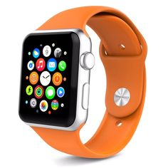Silicone Band for Apple Watch Series 1/2 Orange S/M 38mm Soft Sport Strap New #Juvnile