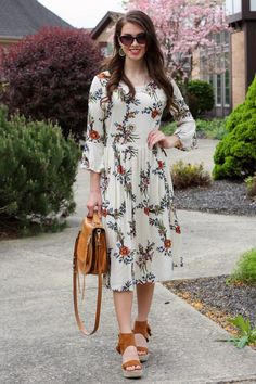 Amy Ivory Floral Midi Dress  www.piperstreetshop.com