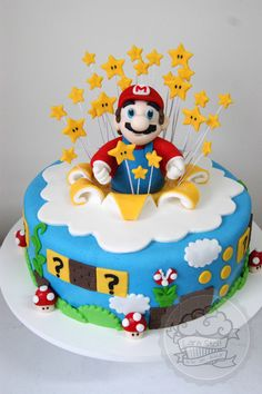Made this for Elias' birthday. Exactly and had a blast making it.He went nuts for it! Mario Birthday Cake, Super Mario Birthday, Super Mario Party, Adult Birthday Cakes, Baby Birthday, Birthday Ideas, Super Mario Bros, Mario Bros Cake, Bolo Do Mario