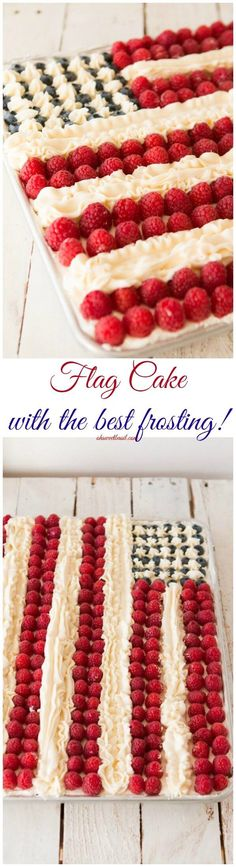 Flag cake, white cake with a light whipped cream frosting, berries and buttercream stripes. Could this flag cake be better than Ina Garten's? I think it might! ohsweetbasil.com 4th of July party food! via @ohsweetbasil http://www.ohsweetbasil.com/flag-cake-recipe/?utm_content=bufferf34bf&utm_medium=social&utm_source=pinterest.com&utm_campaign=osbbuffer