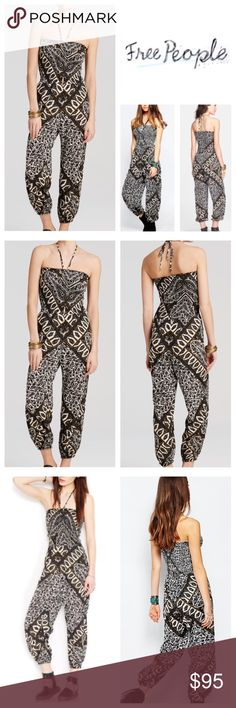 ff1646b5a26 Free People Print Jumpsuit Print stretch adjustable strapless cropped  halter one-piece jumpsuit. Jump