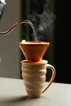 Pour Over Mug Set pour over cone pottery mug by FunctionPottery