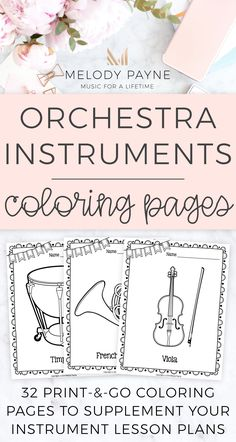 Printable orchestra instrument coloring sheets. Early finishers, centers, group lessons, music camps, sub tub, and more. Use to make a bulletin board during an instrument unit! Cornet, French horn, trombone, trumpet, tuba, euphonium, conductors, harp, music stand, piano, saxophone, bass drum, cymbals, gong, snare drum, tambourine, timpani, triangle, tubular bells, vibraphone, string bass, double bass, cello, viola, violin, bassoon, clarinet, contrabassoon, flute, oboe, piccolo