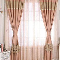 Stylish Room Darkening Kids Sports Curtains And Plaid Pink Artificial Pleated Curtains, Blackout Curtains, Valance, Pink Shower Curtains, Pink Showers, Curtain Length, Princess Room, Houses