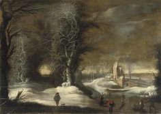 Artwork by Gijsbrecht Leytens, A winter landscape with figures sleighing and skating, Made of oil on canvas
