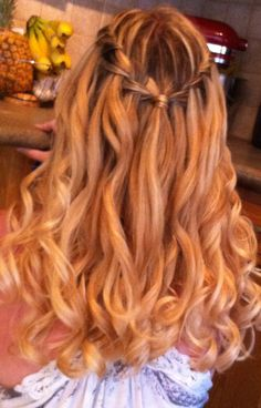Curly hair with waterfall braid