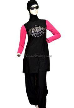 Black Pink Sleeves Floral Silver Dots Women 2-pcs Islamic Modest Swimwear