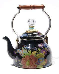 MacKenzie-Childs Flower Market and Courtly Check Tea Kettles