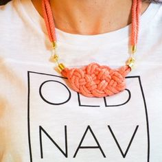 Coral rope necklace nautical knot by Bezaccessories on Etsy https://www.etsy.com/listing/252606678/coral-rope-necklace-nautical-knot