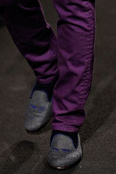 The shoes are crazy but stylish, good match with purple trousers