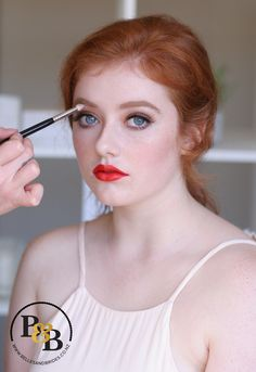 Red head bridal makeup / makeup for red head / red lip for red head / makeup to suit red hair / makeup for blue eyes