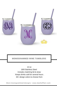 Lavender Monogrammed Wine Tumbler - Personalized Wine Glass, Monogram Gift for Her, Girls Trip Cup, Bachelorette Party Ideas