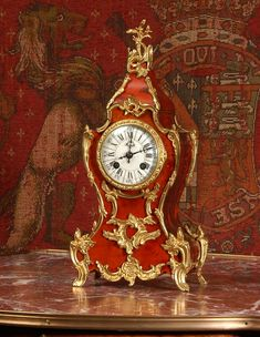 Red Veneer and Ormolu Boudoir Clockby Louis Japy~ Antique French - Circa 1880 ~