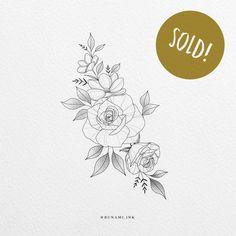 Tatoo Floral, Floral Tattoo Design, Sunflower Tattoo Design, Flower Tattoo Designs, Flower Tattoos, Line Art Tattoos, Mini Tattoos, Single Rose Tattoos, Girl Shoulder Tattoos