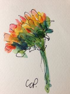 Sunflower Watercolor Card by gardenblooms on Etsy