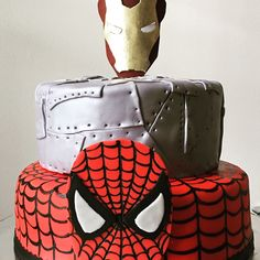 Ironman and Spider-Man Cake by Cakes of Drea Fondant Tips, Fondant Cakes, Cupcake Cakes, Cupcakes, Fondant Toppers, Dream Cake, Iron Man, Spiderman, Man Cake