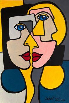 Artist: Laurent Folco Title: Cubist Portrait Medium: Acrylic Size: Date: 2016 Portraits Cubistes, Cubist Portraits, Portrait Art, Picasso Art, Picasso Paintings, Abstract Face Art, Abstract Paintings, Diy Canvas Art, Arte Pop