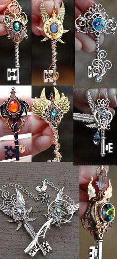 Magic keys to the Infinite Doors of the Multiverse Key Jewelry, Cute Jewelry, Jewelry Making, Skull Jewelry, Hippie Jewelry, Kawaii Jewelry, Steam Punk Jewelry, Steampunk Accessories, Magical Jewelry
