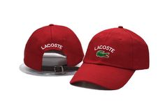 Men's / Women's Lacoste Classic Croc Logo Embroidery Leather Strap Back Curved Adjustable Dad Hat - Red Lacoste Store, Hats For Sale, Dad Hats, Knee Length Dresses, Baseball Cap, Crocs, New Fashion, Dads, Buy And Sell