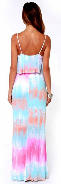 Pastel Tie Dyed Maxi Dress - love the colors and print!